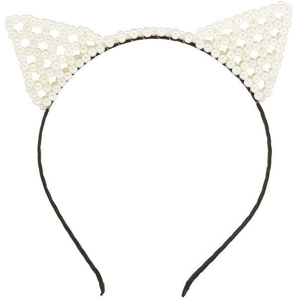 Charlotte Russe White Combo Pearl Cat Ears Headband by Charlotte Russe... (€6,21) ❤ liked on Polyvore featuring accessories, hair accessories, white combo, pearl cat ear headband, wrap headbands, cat ears headband, white headband and pearl hair accessories