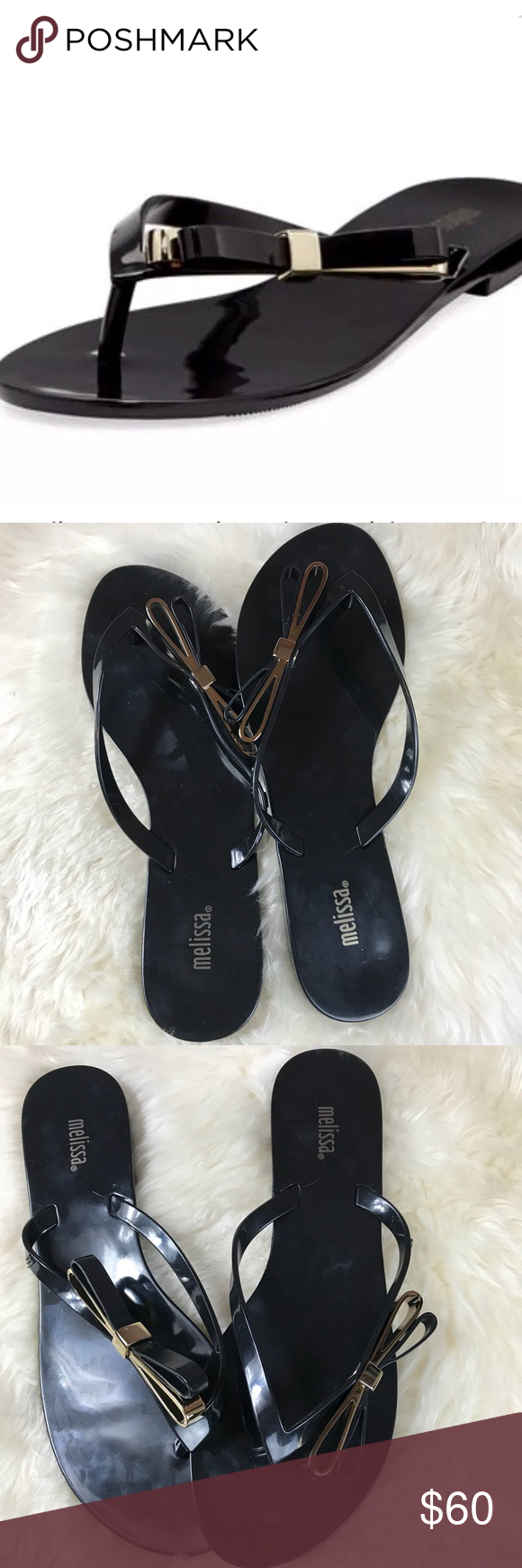 66fab7bf02b NWT Melissa Harmonic Make A Wish Bow Sandals 9 Melissa Sandals Size  9  Color  Black