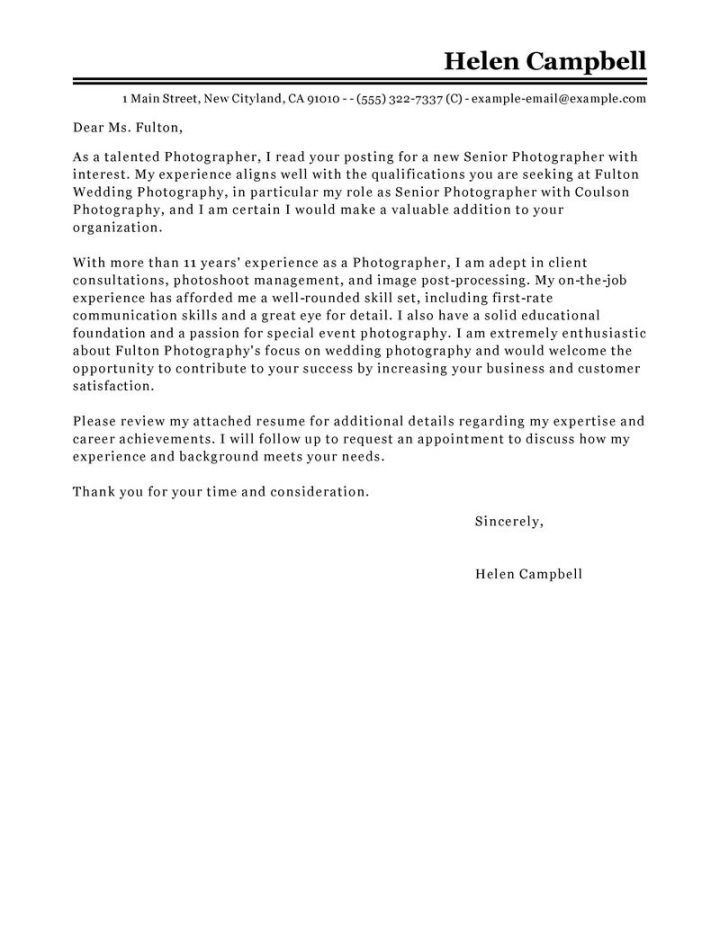Photography Cover Letter Examples  Resume Examples