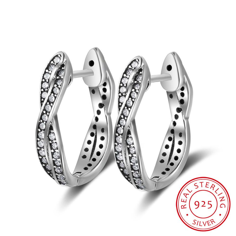 01f39bf79 Vintage Style Real Pure 925 Sterling Silver Cubic Zirconia Hoop Earrings  Get 10% OFF using