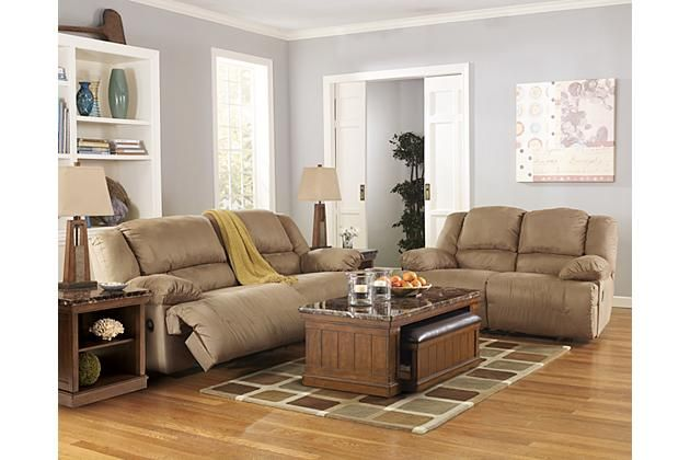 Tan leather recliner couch and loveseat with coffee table ...