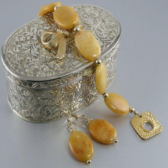 Butterscotch Quartz Gold Bead Bracelet and by JewelryByTali, $80.00