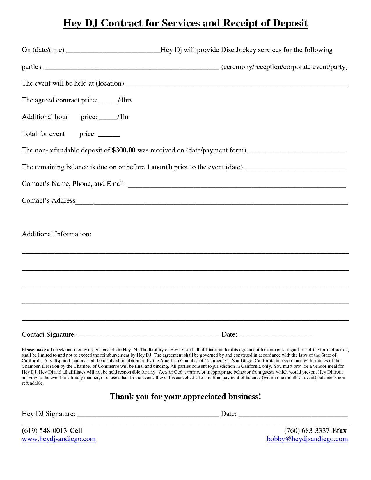 dj contract template pdf