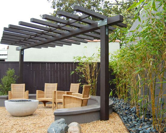 Asian Patio Design Idea Bamboo Trees Outdoor Seating Area