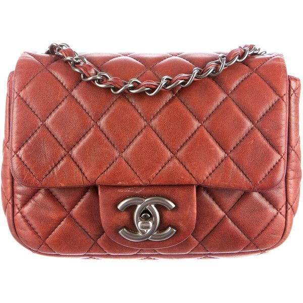 Pre-owned Chanel Classic Mini Single Flap Bag ($2,050) ❤ liked on Polyvore featuring bags, handbags, shoulder bags, red, shoulder handbags, leather man bag, chanel handbags, leather hand bags and woven leather handbag