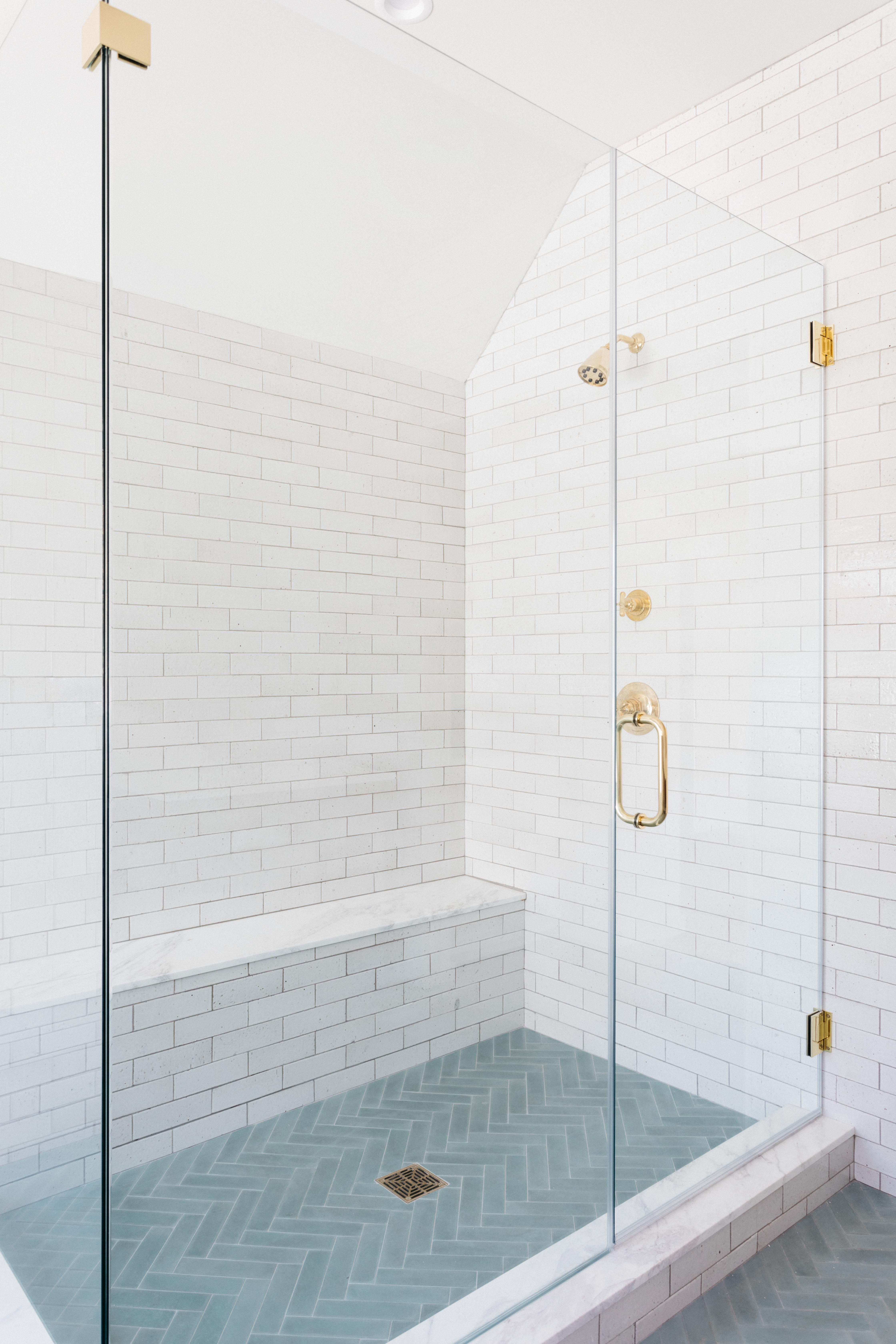 if your space requires a big dose of subway tile MAGIC- look no further than the chic, cool, wabi-sabi affect that can only be derived from solid cement tiles. #showernookdesign #showerdesign