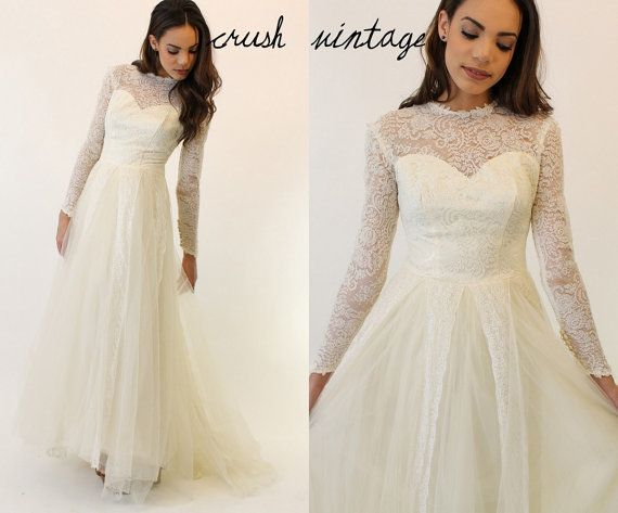 50s Ivory Tulle Wedding Gown / 1950s Romantic Full by CrushVintage, $375.00