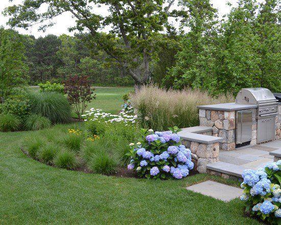 Graminées ornementales au jardin- 100 idées d\u0027aménagement - photo cuisine exterieure jardin