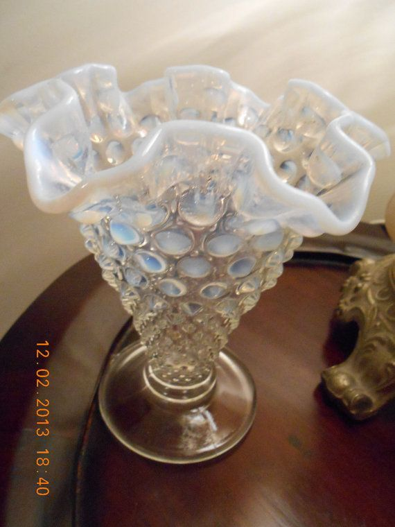 Fenton Hobnail Glass Vase Clear Base To A Blue Opalescent Ruffled