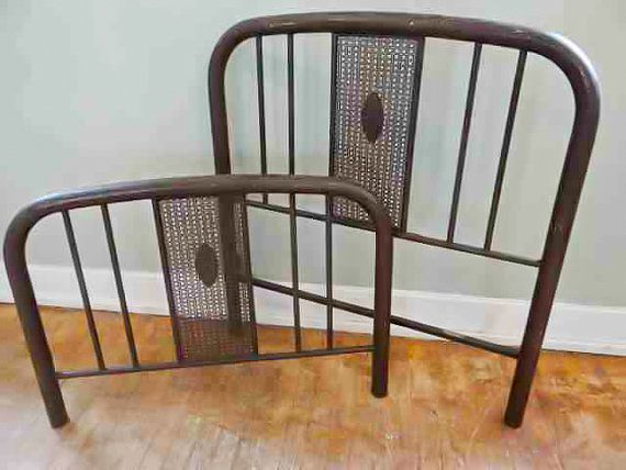 Antique Simmons Iron Bed Frame Headboard Footboard Rails Twin Bed Home Decoration Antique Rustic Farmhouse By Theoakb Iron Bed Frame