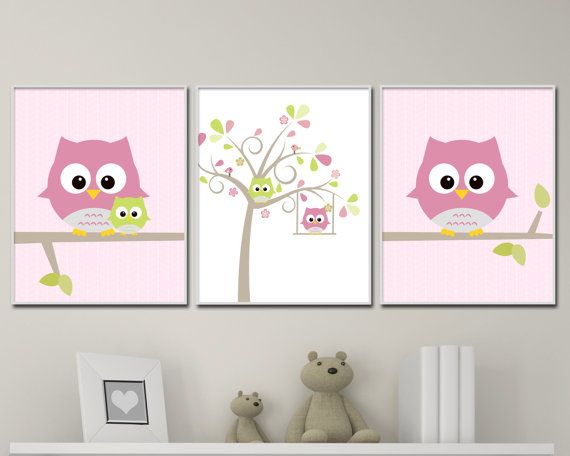 Owl Nursery Wall Print, Owl and Tree Wall Art Prints, Pink Nursery ...