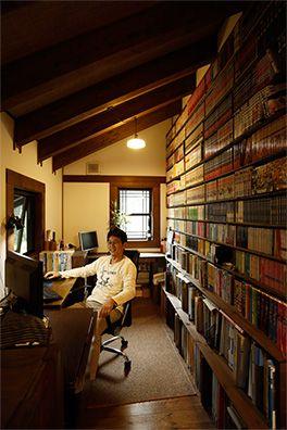 オーナーの暮らし ログハウスのbess 書斎 レイアウト ホームライブラリー リフォーム 古民家