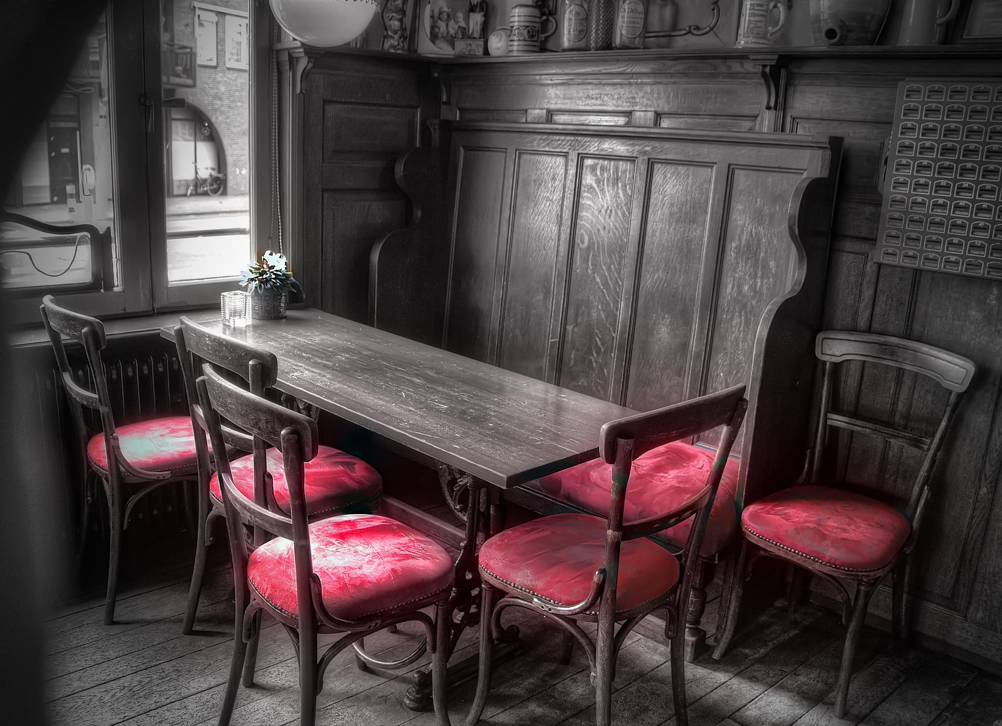 Old cafe interior (by Ton   lع Jeune) [touch of red chair]
