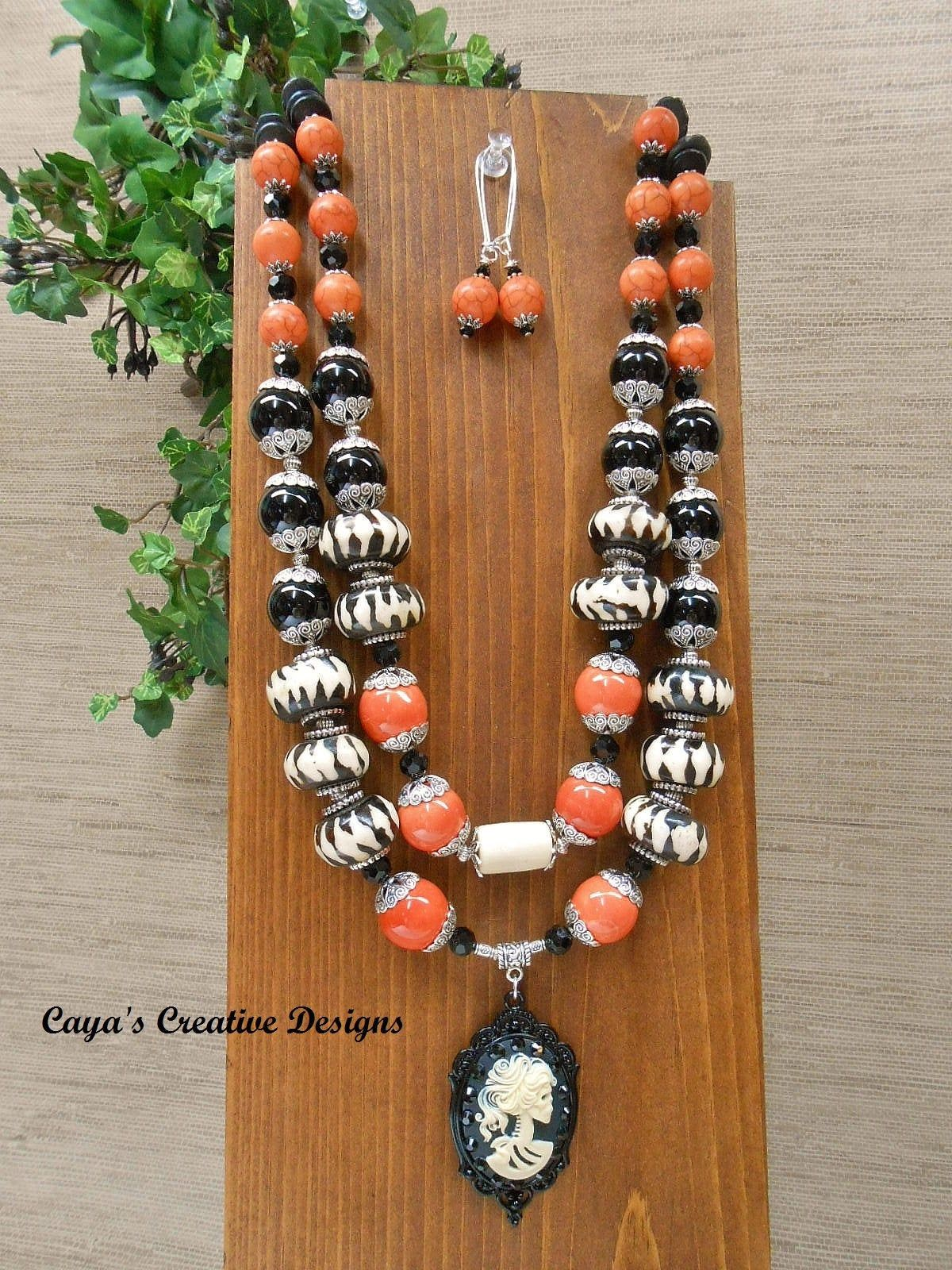 Pendant Necklace Brown Enamel Orange Amber Chunky Mixed Beads Multi Bead Faceted Opaque /& Clear Bronze Tone Chain