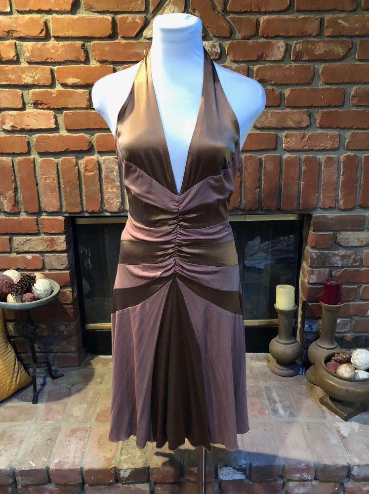 1f8d5cfdafda Vintage bebe sz M Brown Silk Ruched Deep V Neck Open Back Cocktail Party  Dress  bebe  PartyCocktail