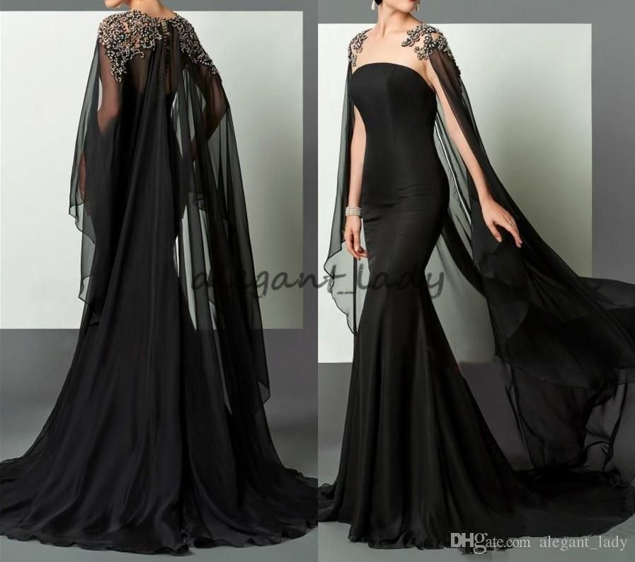 f9f893c18685 Black Mermaid Arabic Formal Evening Dresses 2018 Elie Saab Beaded Chiffon  With Cape African Prom Party Gown Pageant Celebrity Dress Runway Overskirt  Evening ...