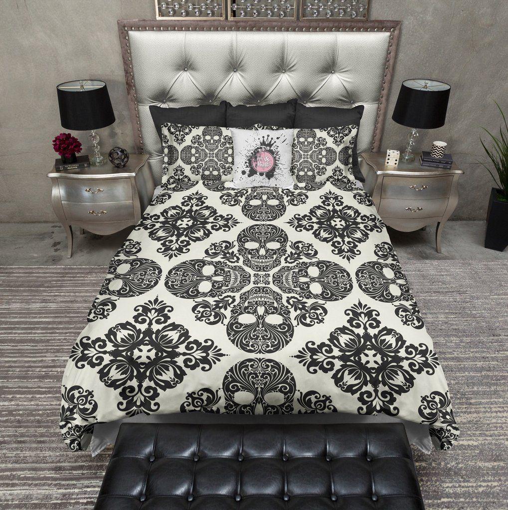 Diamond Black and Cream Skull Duvet Bedding Sets