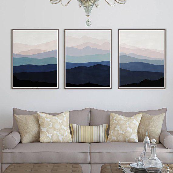 Mountains Poster Abstract Mountain Digital Print Dark Blue Art Etsy Pink Abstract Art Triptych Art Triptych Wall Art