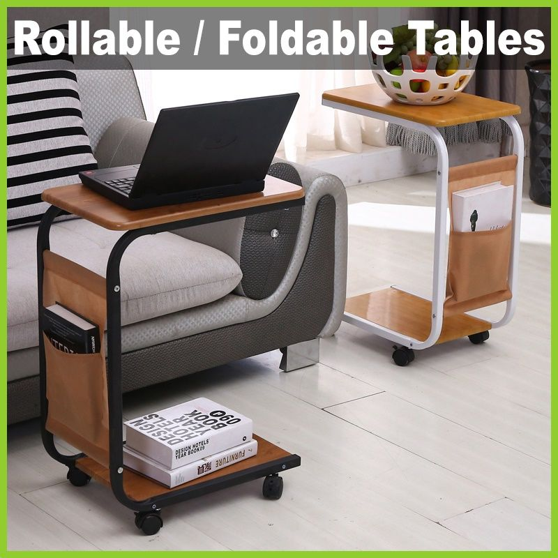 Lifehacks Rollable Foldable Table Bedside Moving Laptop Study Desk Mobile Wheels Shelf Cover Convenient Small Bedroom Inspiration Foldable Table Simple Sofa