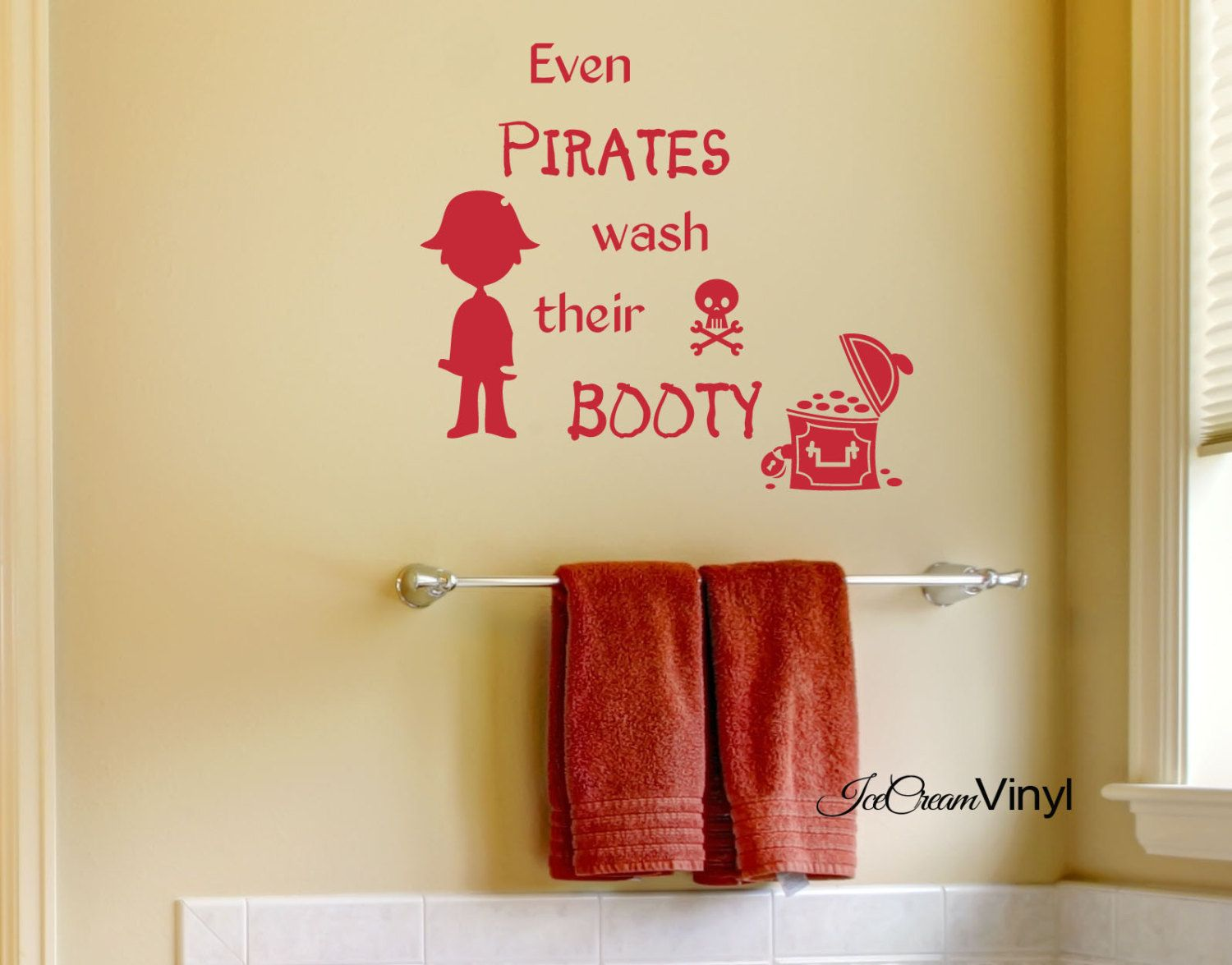 Pirate Vinyl Wall Decal Even Pirates Wash Their Booty Bathroom Wall ...