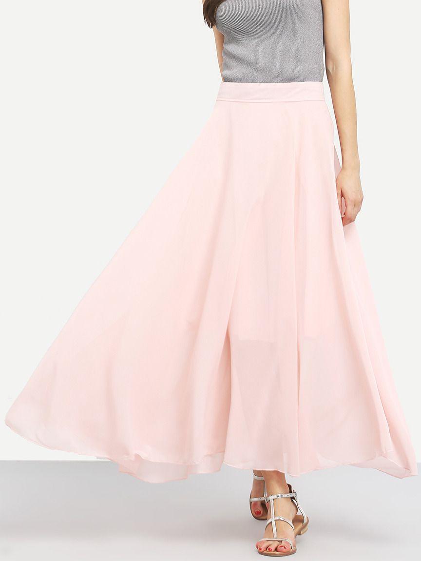eceddf09e6 Pink Chiffon Flare Long Skirt -SheIn(Sheinside)   Clothes/fashion ...