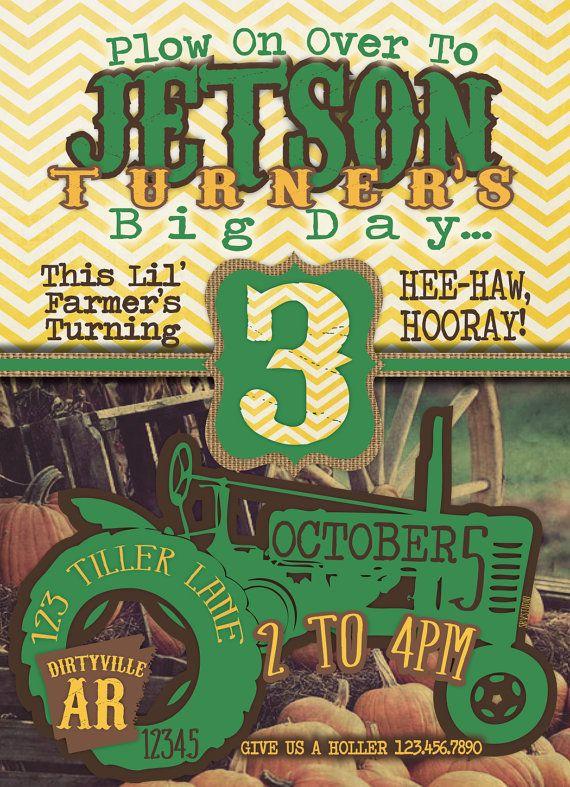 FarmTractorJohn Deere Birthday Invitation by southernbellavita