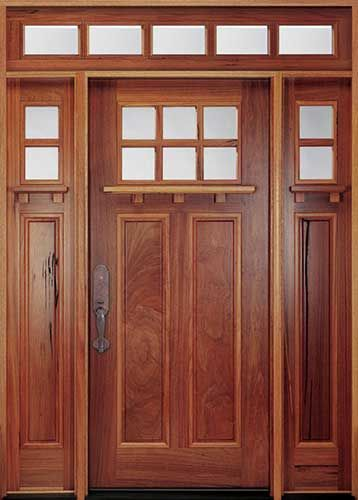 MIAA74 Andean Walnut Craftsman Style Entry Door With Sidelites, Transom,  And Dentil Shelf