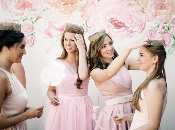 Bride and be and bridesmaid in pink + lace crowns | fabmood.com #pinkdress #promdress #1950sdress #1950s #bridalshower #pink #bridesmaids