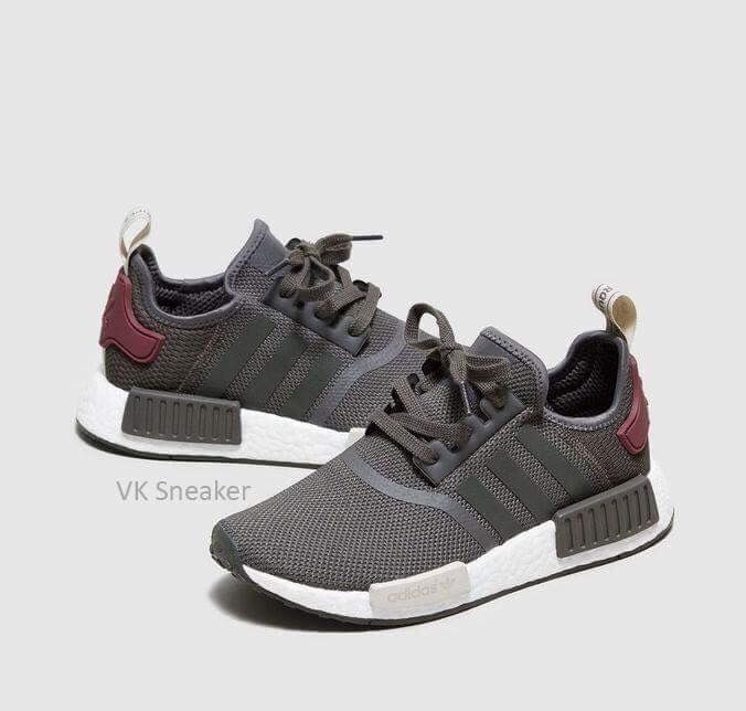 06a0d5a0cf22d New Adidas NMD R1 W Mesh Utility Grey Olive Maroon BA7752 Women's ...