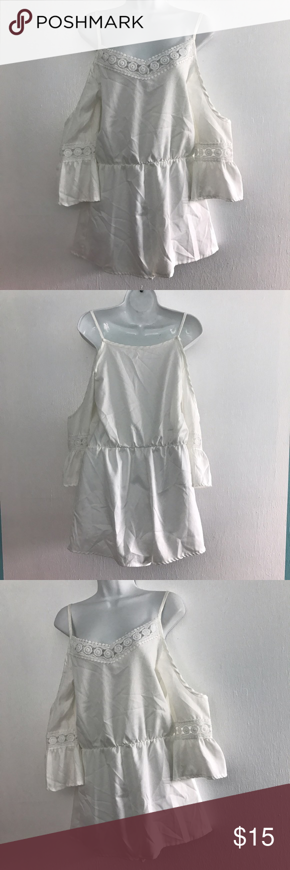 Poet Sleeve Cold Shoulder Romper Beautiful white poly Romper. Total length 30 in. Chest 32 in. Other