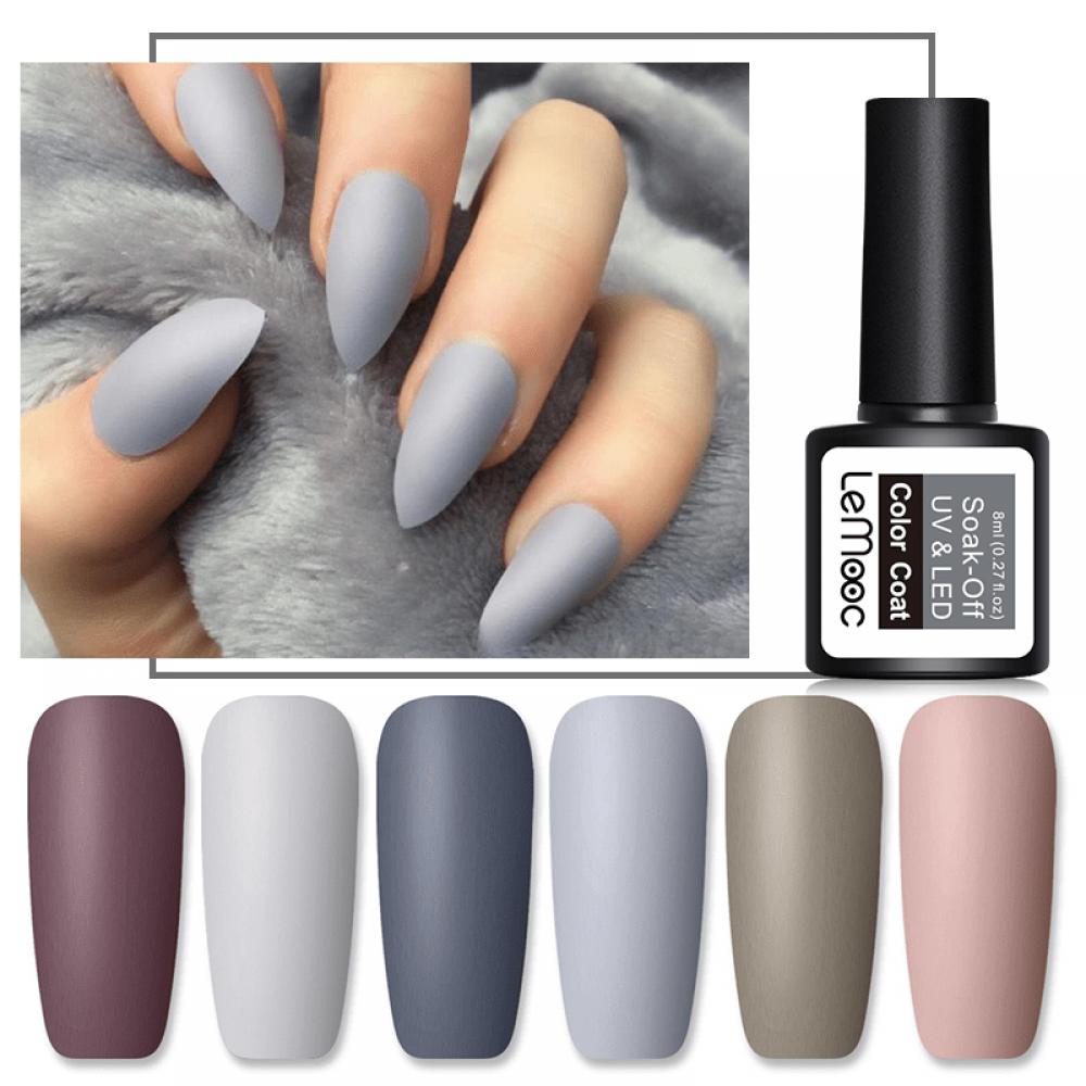 Lemooc Matte Top Coat Color Uv Gel Nail Polish Gray Series Semi Permanent Nail Art Gel 8ml Fasmop In 2020 Matte Gel Nails Uv Gel Nail Polish Uv Gel Nails