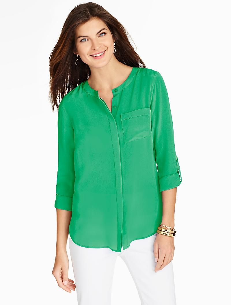 Washable Silk Band Collar Blouse Talbots Fashion Likes In 2018