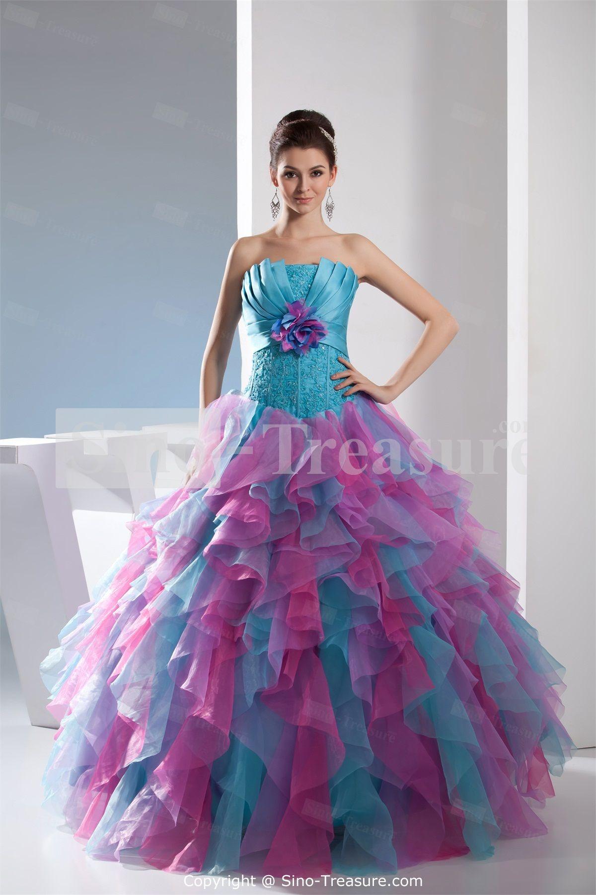 0fe4821f41134a Beading Strapless Apple Handmade Flower Sleeveless A-Line Prom Dress  Wholesale Price  US 287.99
