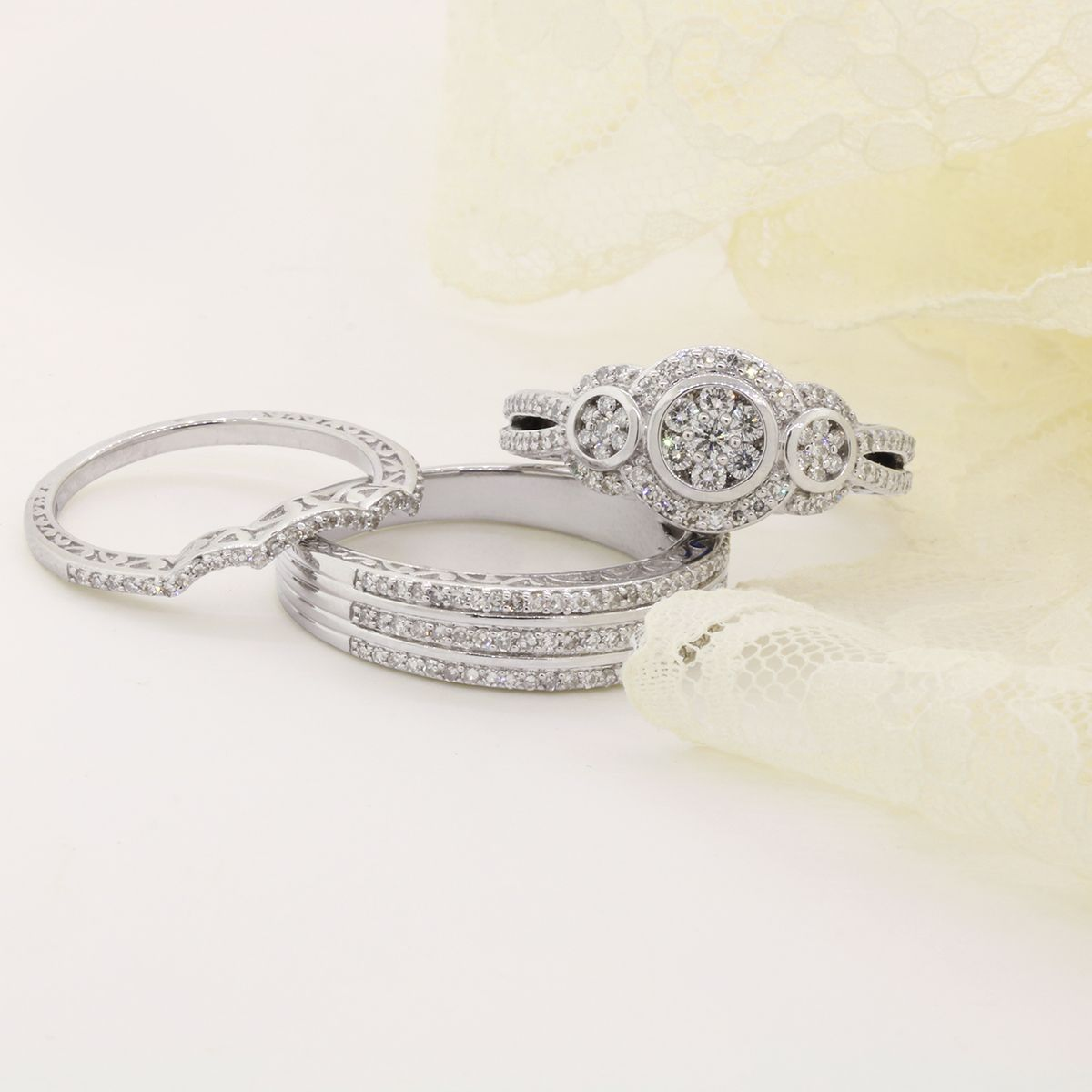 1 1 4 Carat Total Weight Diamond Trio Ring Set Shop The Trilogy Inspired Andromeda His And Hers Wedding Ring Set Matching Wedding Rings Rings Wedding Rings