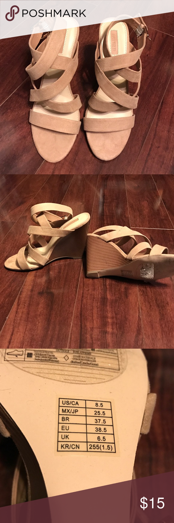 Forever 21 women's tan wedges Just ordered from Poshmark and they are too small for me. The previous owner wore them once. Tan, strappy wedge. Size 8.5 Forever 21 Shoes Wedges
