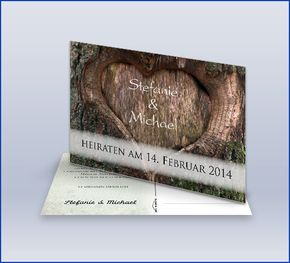 Save The Date Karte 'Baumherz'