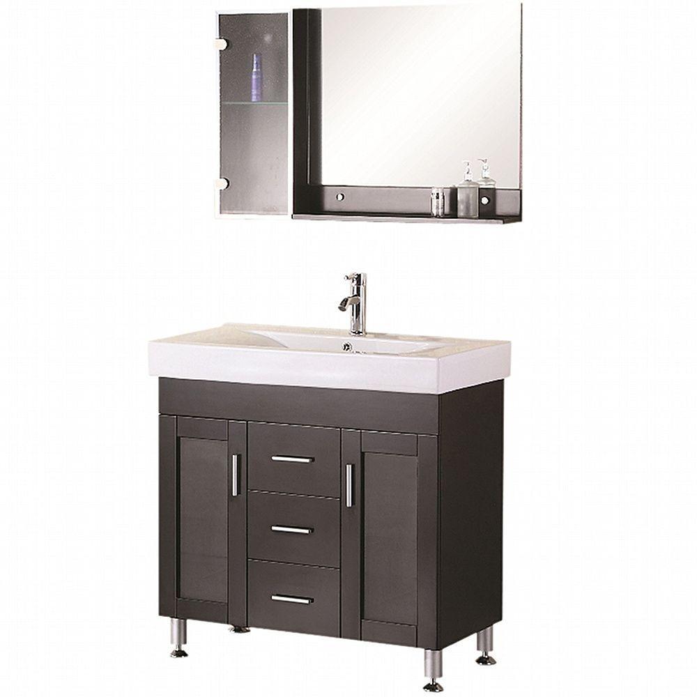 Design Element Miami 36 In W X 19 In D Vanity In Espresso With