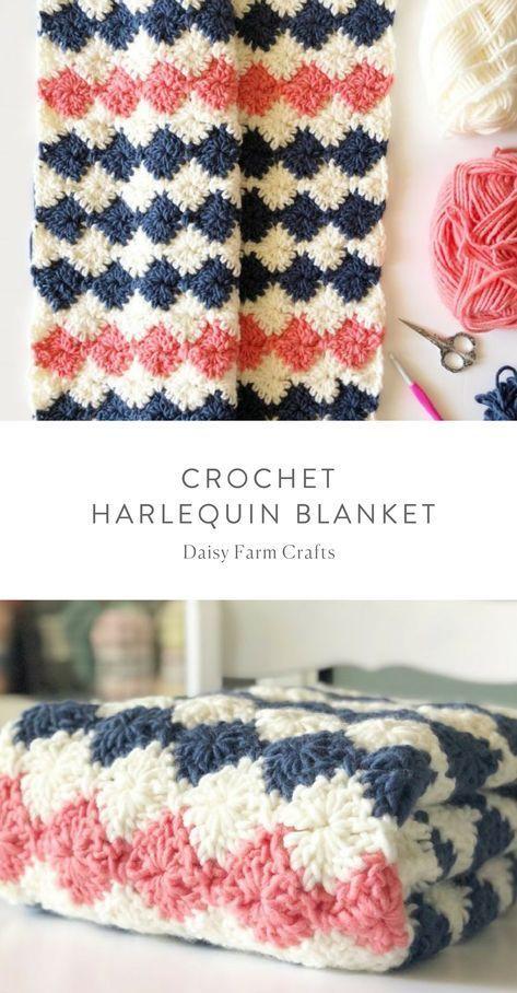 Free Pattern - Crochet Harlequin Blanket #crochet | Mantas ...