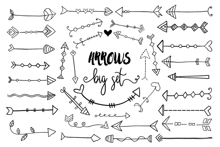 Black Hand Drawn Doodle Arrows Clipart Tribal Cute Arrow Clip Art 70036 Illustrations Design Bundles Arrow Clipart Cute Arrow Clip Art