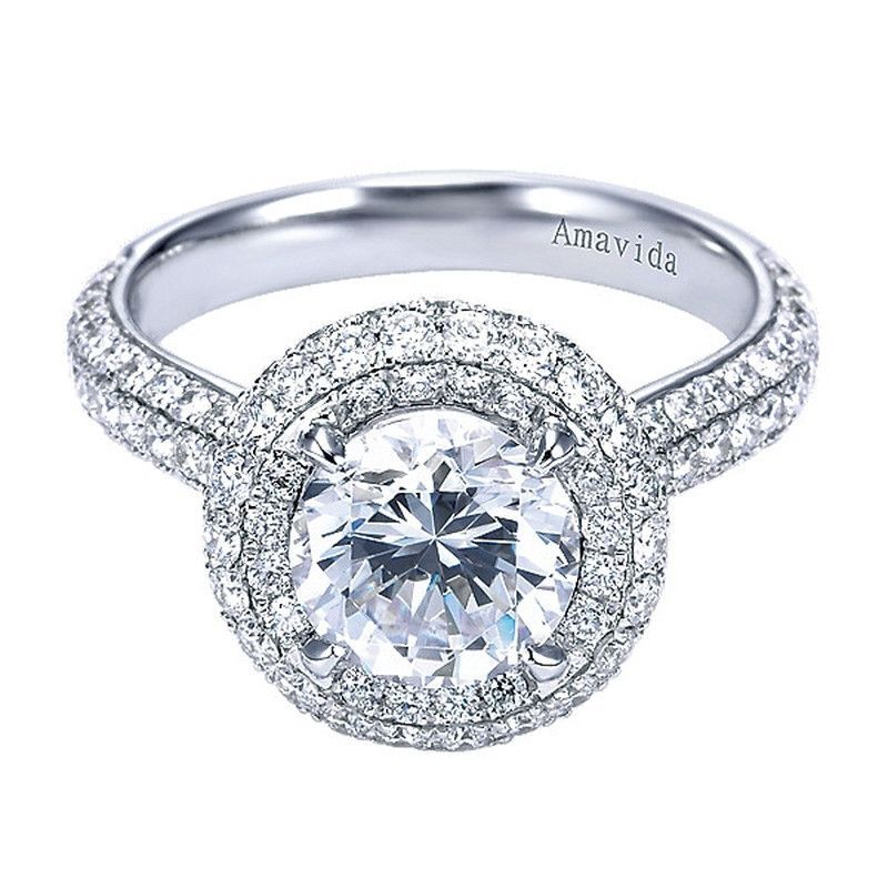 Double Halo Engagement Ring by Gabriel and Co. #ER7569W83JJ