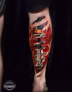 Biomechanical Leg Best Tattoo Ideas Designs Leg Tattoos Ripped Skin Tattoo Calf Tattoo