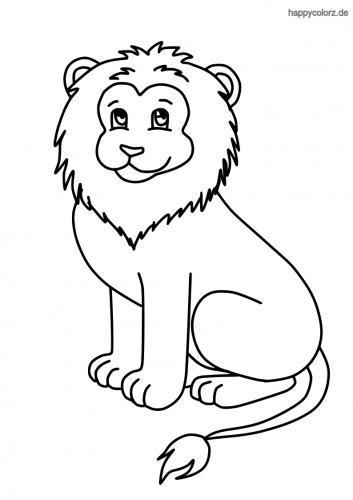 Sitzender Löwe ausmalen   Lion coloring pages, Cute lion ...