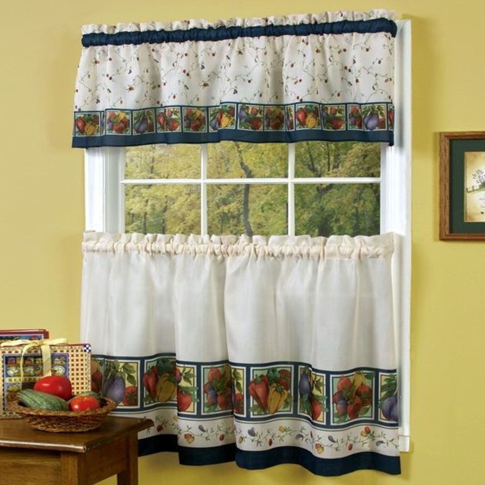Kitchen window curtains valance