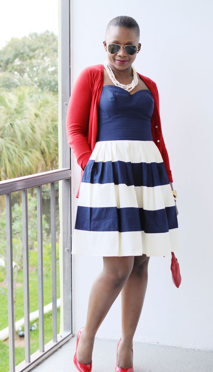 Navy and Cream Stripes Dress  Blue and Cream and Homecoming dresses
