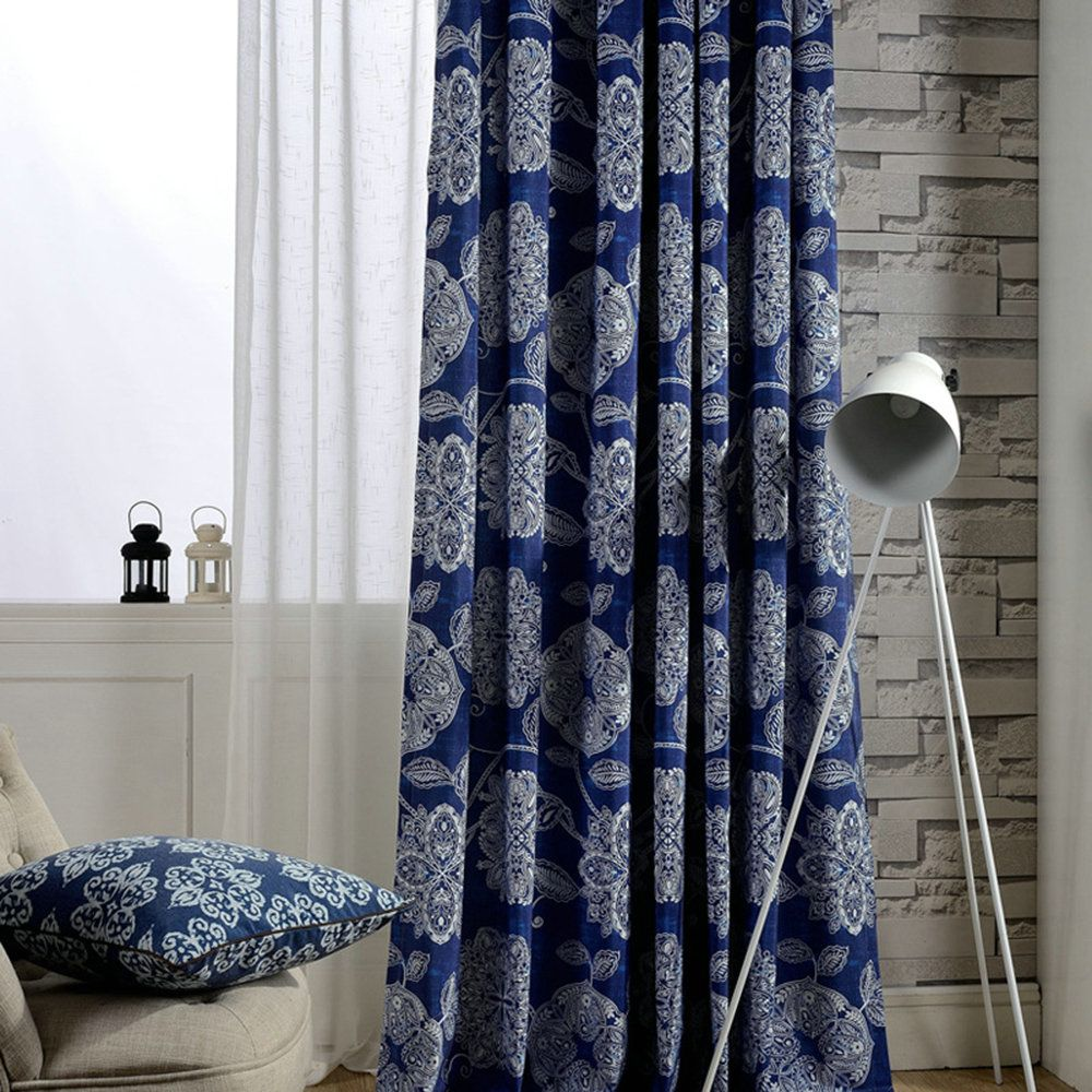Vorhang Europäische Stil Blumen Druck Design Blau Im Wohnzimmer Zu Günstigen Preisen Kaufen Linen Curtains Living Room Curtains Living Room Blue Living Room - Vorhänge Schlafzimmer Blau