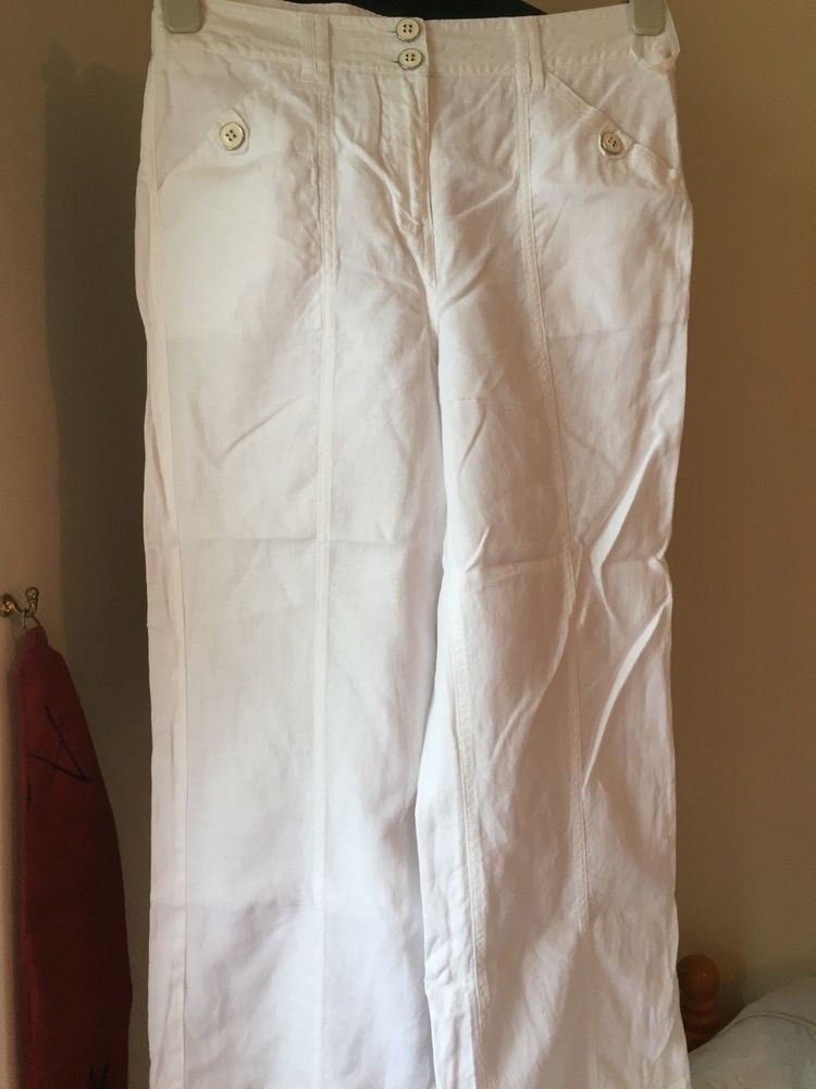 d647471fab8 Ladies M S per una Size 10r White Linen Trousers  fashion  clothing  shoes