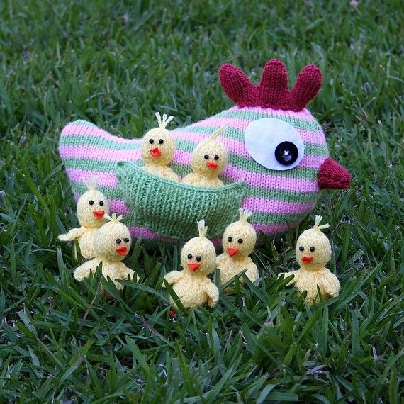 Mother Hen and Chicks - INSTANT DOWNLOAD PDF Knitting Pattern   Hens ...