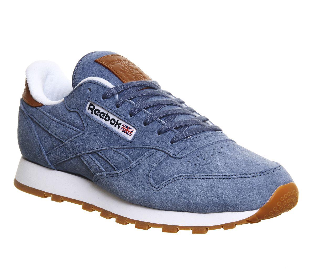 f418ee91de0 Reebok Cl Leather Blue Slate Collegiate Navy White Exclusive Sports  Footwear