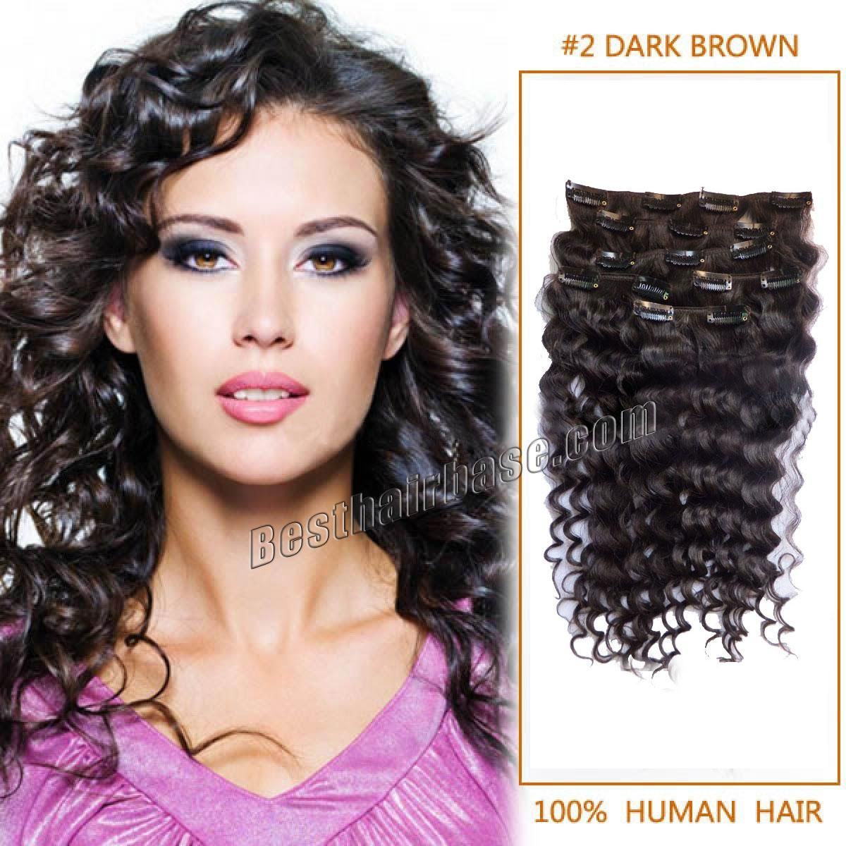 24 Inch Aligned Curly Clip In Hair Extensions Nice 2 Dark Brown 7