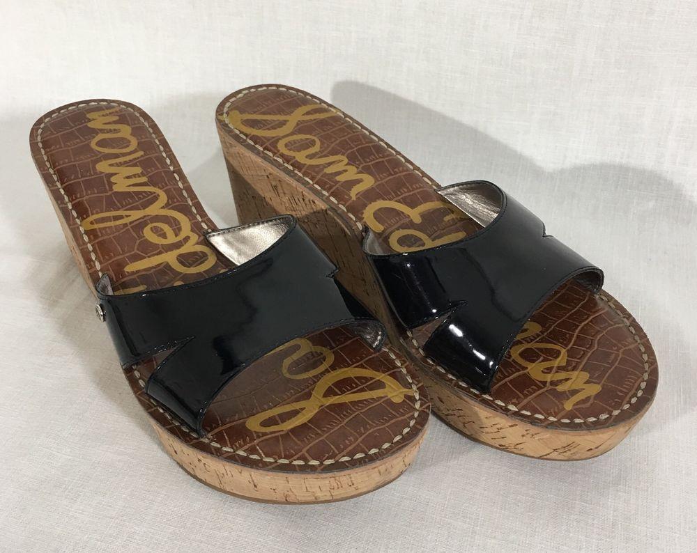 cec99712cae9 Sam Edelman Reid Sandals Size 9.5 Black Patent Leather Platform Cork Wedge  Shoes  SamEdelman  PlatformsWedges  Versatile